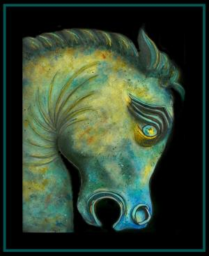 Bronze Horse Head With Blue Patina
