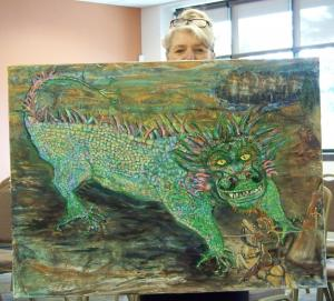 Connie Emmons with Dragon